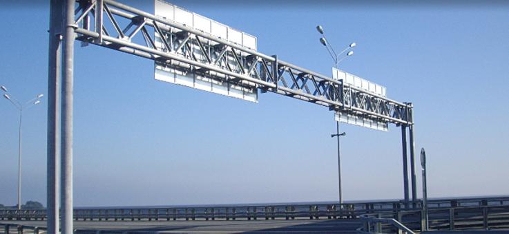 Фото Стойки для дорожных знаков и металлические рамные опоры